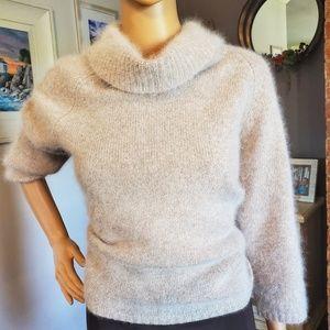 White angora and wool cowl neck sweater